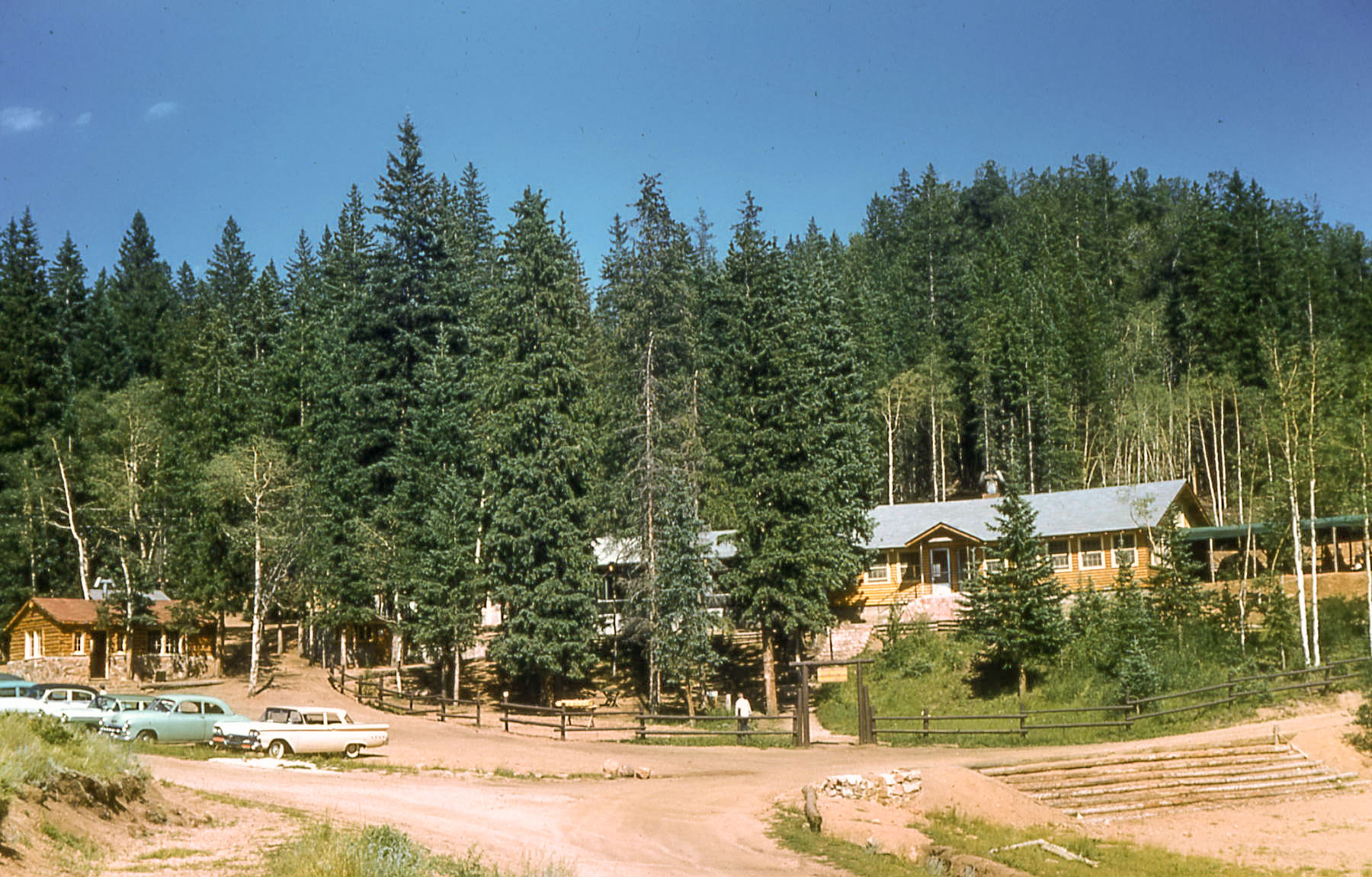 Rocky Mountain Mennonite Camp photo of the Dining Hall from Gold Mine in 1960